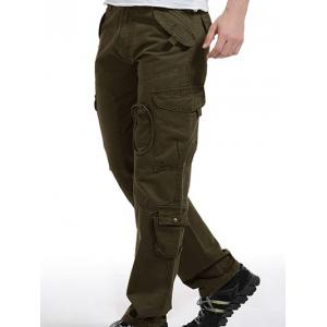 Zip Fly Pockets Military Army Cargo Pants - Army Green - 31