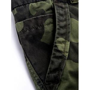Zipper Fly Plus Size Pockets Embellished Camo Cargo Pants -