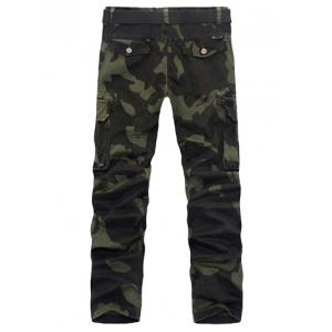 Zipper Fly Plus Size Pockets Embellished Camo Cargo Pants