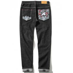 Zipper Fly Plus Size Chinoiserie Embroidered Straight Leg Jeans -