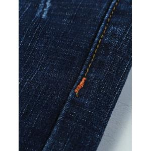 Jeans jambe droite conception Whiskergrande taille  Zip Chat - Bleu 38