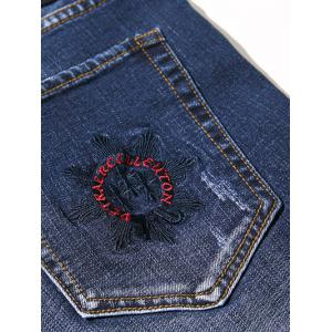 Zipper Fly Plus Size Bleach Wash Embroidery Straight Leg Jeans - BLUE 48