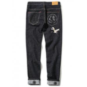 Zipper Fly Plus Size Chinoiserie Crane Embroidered Straight Leg Printed Jeans - BLACK 46