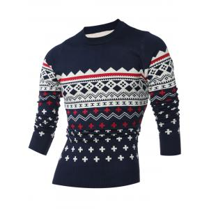 Crew Neck Geometric Pattern Long Sleeve Sweater - Cadetblue - M