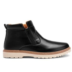 Double Zips PU Leather Ankle Boots - BLACK 43