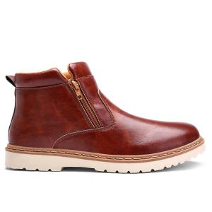 Double Zips PU Leather Ankle Boots - BROWN 42