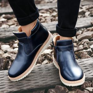 Double Zips PU Leather Ankle Boots - BLUE 42