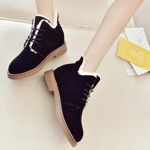 Flock Flat Heel Lace-Up Snow Boots -