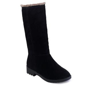 Low Heel Fold Down Mid-Calf Boots -