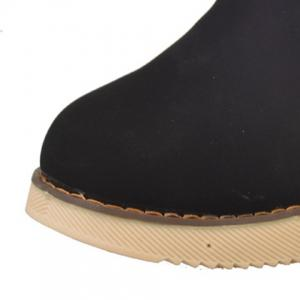 Fuzzy Buckle Strap Suede Snow Boots - BLACK 39