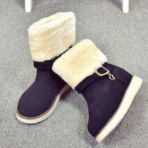 Fuzzy Buckle Strap Suede Snow Boots