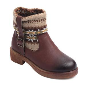 Ethnic Style Knitted Splicing Buckle Sock Boots