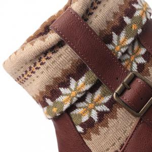 Ethnic Style Knitted Splicing Buckle Sock Boots - BROWN 38