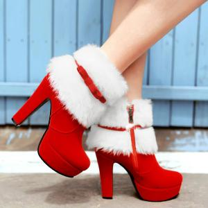 Bowknot Platform Fuzzy Chunky Heel Boots - RED 37