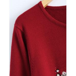 Rhinestoned Floral Long Sweater -