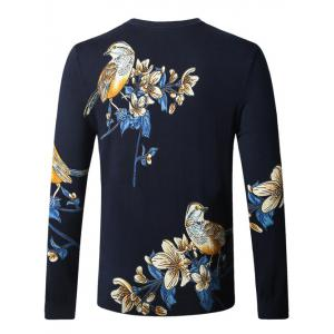 Bird Floral Print Pullover Sweater -