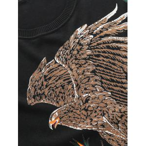 Eagle Floral Print Pullover Sweater - BLACK 4XL