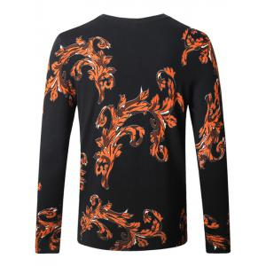 Leopard Ancient Flower Print Pullover Sweater - BLACK 4XL