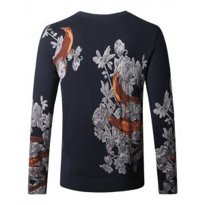 Birds Floral Print Pullover Sweater -