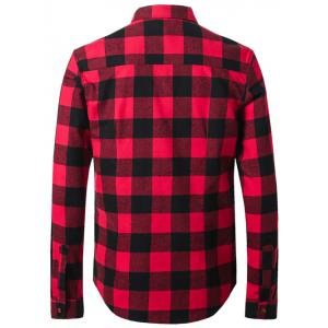 Plus Size Plaid Letters Label Long Sleeve Shirt - RED 5XL