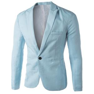 Casual Tailored Collar Single Button Solid Color Blazer For Men -