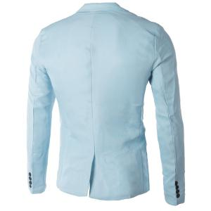Casual Tailored Collar Single Button Solid Color Blazer For Men - LIGHT BLUE 3XL