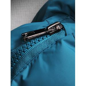 Detachable Hooded Zip-Up Thicken Padded Jacket - BLUE 3XL