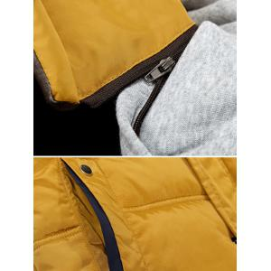 Zip-Up Contrast Sleeve Hooded Quilted Jacket - OFF WHITE L