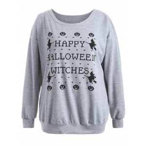 Pullover Letter Witch Print Sweatshirt - GRAY 3XL