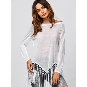 Fringed Jewel Neck Cover Up -
