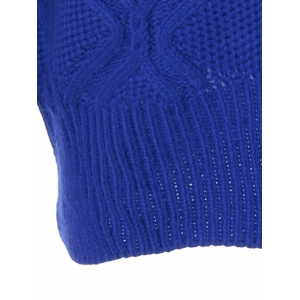 Cable Color Block Pullover Sweater - BLUE ONE SIZE