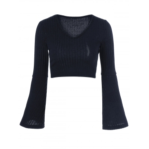 Knit Bell Sleeve Sweater - BLACK ONE SIZE