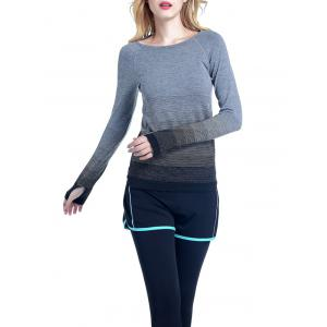Running Ombre Yoga Long Sleeve Gym Top - Black - S