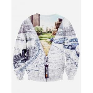 Crew Neck 3D Jacket Printed Long Sleeve Sweatshirt - COLORMIX M
