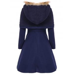 Stylish Hooded Long Sleeves Zippered Pocket Design Women's Coat - CADETBLUE L