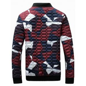 Zip-Up Printed Geometric Pattern Quilted Jacket - RED 3XL