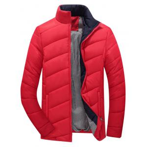 Zip Up Plaid Lining Padded Jacket - Red - 5xl