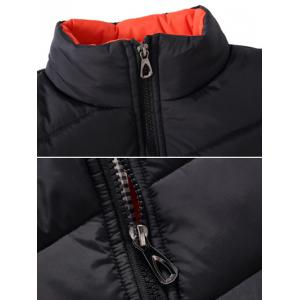 Stand Collar Zipper-Up Quilted Jacket - RED 5XL