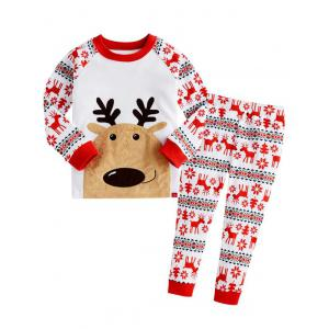Christmas Crew Neck Deer T Shirt Pants Pyjamas Sets - Red - 120