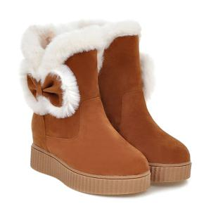 Faux Fur Bowknot Increased Internal Snow Boots - BROWN 39