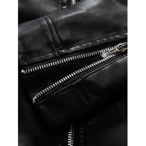 Embroidered PU-Leather Fleece Zip-Up Jacket - BLACK 3XL