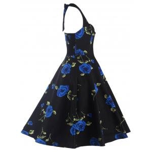 Halter Floral A Line Cocktail Skater Dress - BLUE 2XL