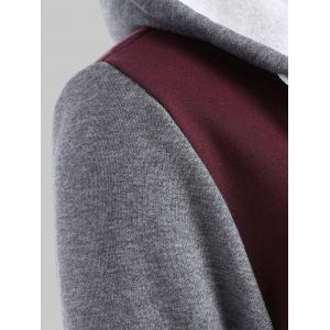 Plus Size Fleece Baseball Jacket with Hood - WINE RED 2XL