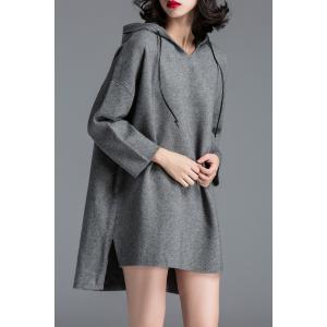 Hooded Side Slit Knitted Dress - Gray - One Size