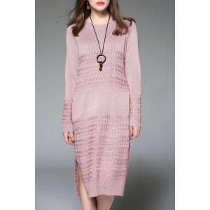 Side Slit Midi Long Sleeve Knitted Dress - Pink - One Size