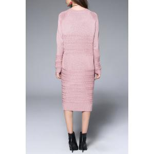 Side Slit Midi Long Sleeve Knitted Dress - PINK ONE SIZE