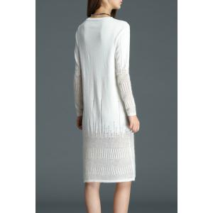 See Through Knee Length Knitted Dress - WHITE S
