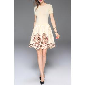 Embroidered A Line Short Sleeve Dress -