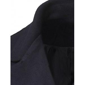 Back Double-Breasted Vent Notch Lapel Faux Leather Insert Pea Coat - BLACK XL