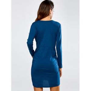 Long Sleeve Ruched  Bandage Bodycon Dress - DEEP BLUE S